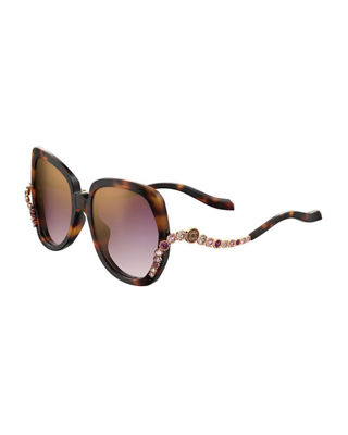 Square Acetate Sunglasses W/ Crystal Wave Arms in Havana