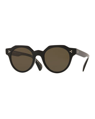 dea303b1d7 Oliver Peoples Irven Faceted Round Acetate Sunglasses