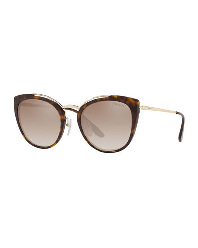 Acetate & Metal Mirrored Cat-Eye Sunglasses