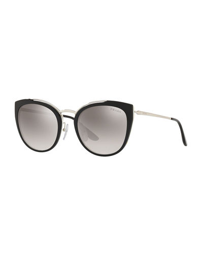 5a65ec0f5a Quick Look. Prada · Acetate   Metal Mirrored Cat-Eye Sunglasses