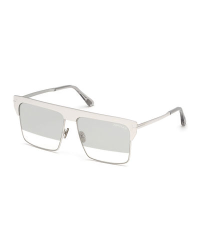 West Two-Tone Mirrored Square Sunglasses