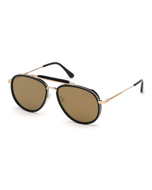5a2209339354 TOM FORD Tripp Metal   Acetate Aviator Sunglasses