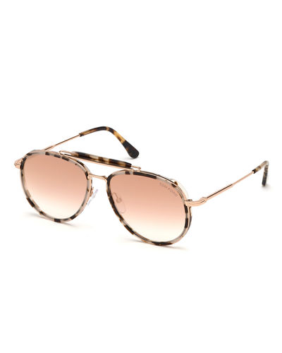 5a9aad09e49 Quick Look. TOM FORD · Tripp Metal   Acetate Aviator Sunglasses