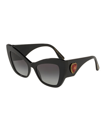 Chunky Cat-Eye Sunglasses w/ Logo Heart Temples