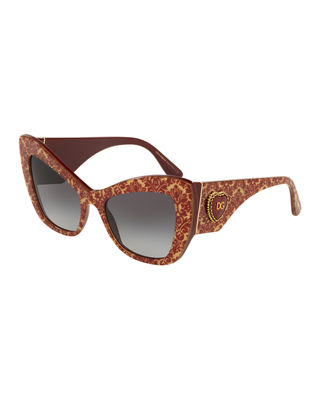 Chunky Cat-Eye Sunglasses W/ Logo Heart Temples in Red/Gold
