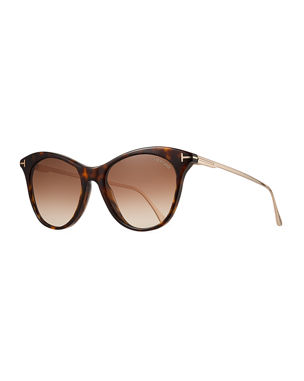 2540aaceae TOM FORD Micaela Transparent Acetate Round Gradient Sunglasses