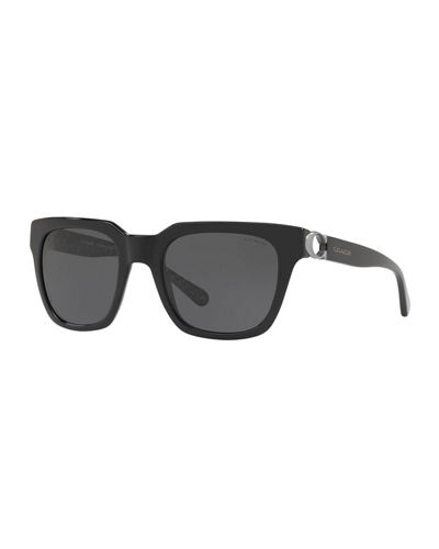 Square Monochromatic Sunglasses w/ Cutout C Temples