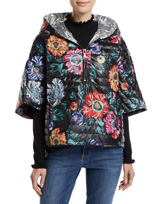 THINK ROYLN The Heroine Quilted Floral Poncho in Black Bloom