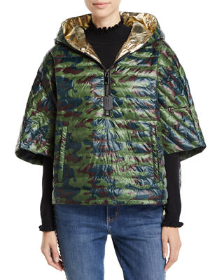 THINK ROYLN The Heroine Quilted Floral Poncho in Camo/Gold