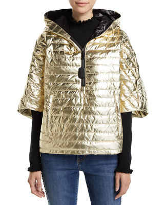 THINK ROYLN The Heroine Quilted Floral Poncho in Gold/Black