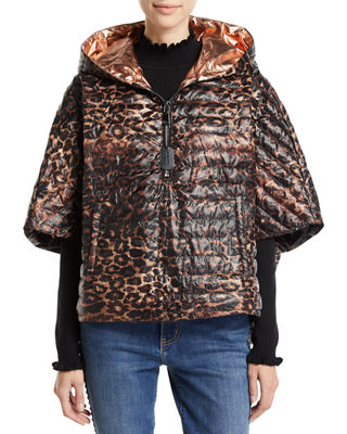 THINK ROYLN The Heroine Quilted Floral Poncho in Leopard