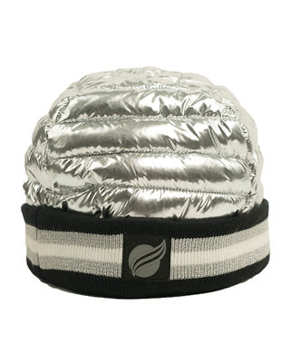 THINK ROYLN Downtown Crown Metallic Quilted Hat W/ Ribbed Cuff in Silver