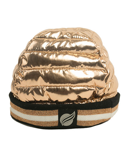 Think Royln Downtown Crown Metallic Quilted Hat w/ Ribbed Cuff