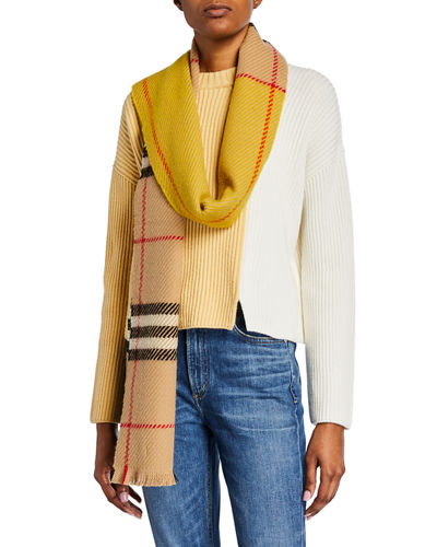 Colorblocked Giant Check Scarf