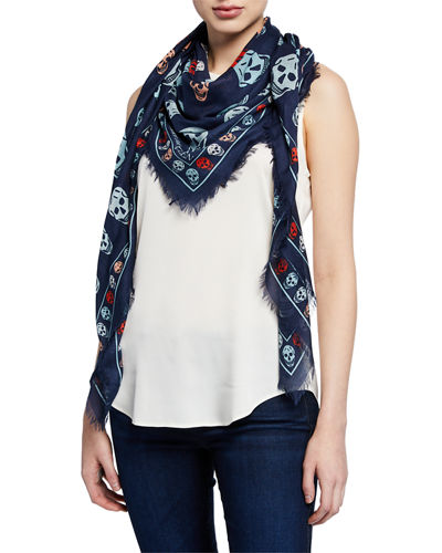 Multicolored Box Skull Scarf