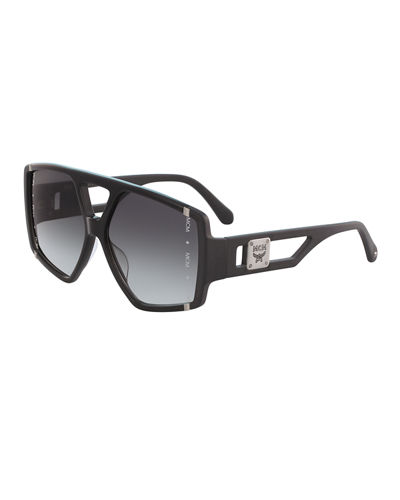 MCM Acetate Metal-Trim Aviator Sunglasses