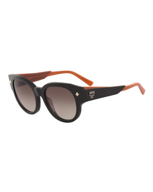 60c24e6c3a5 MCM Round Acetate Sunglasses w  Leather Wrapped Arms. Favorite. Quick Look