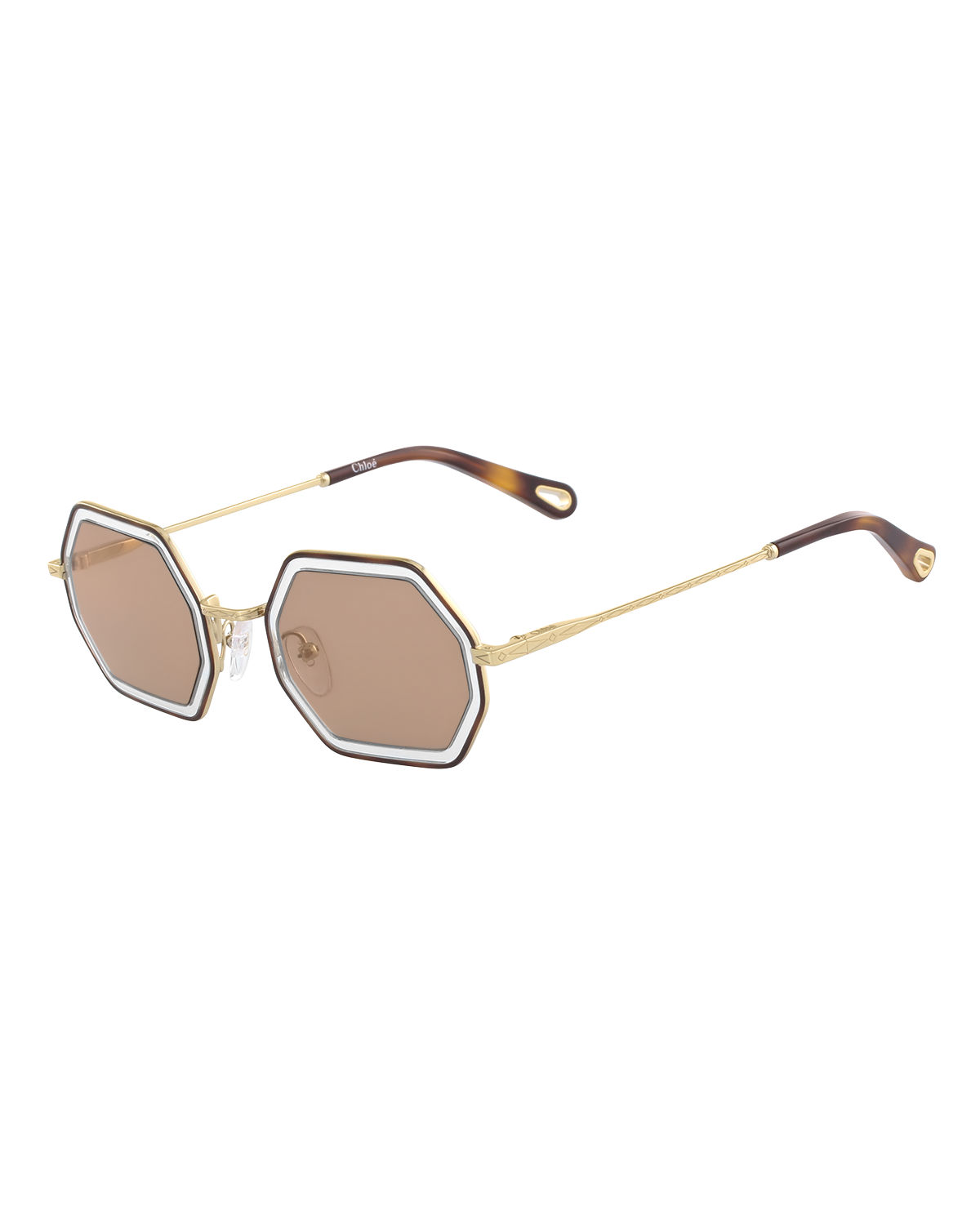 32bd334c7 Chloe Tally Hexagonal Metal Sunglasses | Neiman Marcus