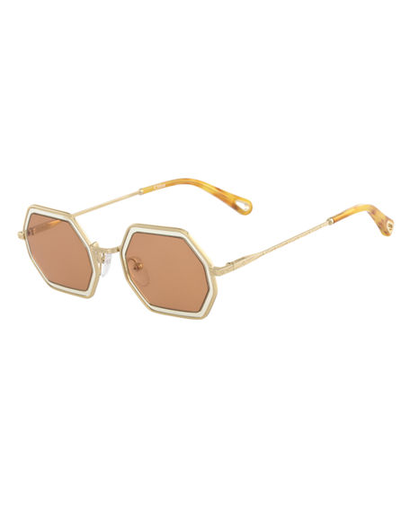 Image 1 of 2: Chloe Tally Hexagonal Metal Sunglasses