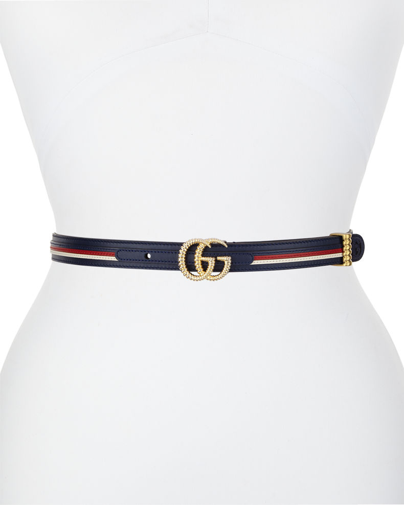 Multicolored Leather Belt W/ Textured Gg Buckle by Gucci