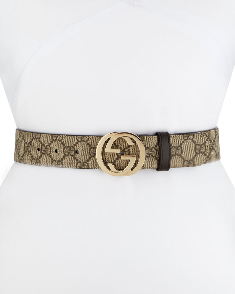 Gucci GG Supreme Canvas Belt w/ Interlocking G Buckle