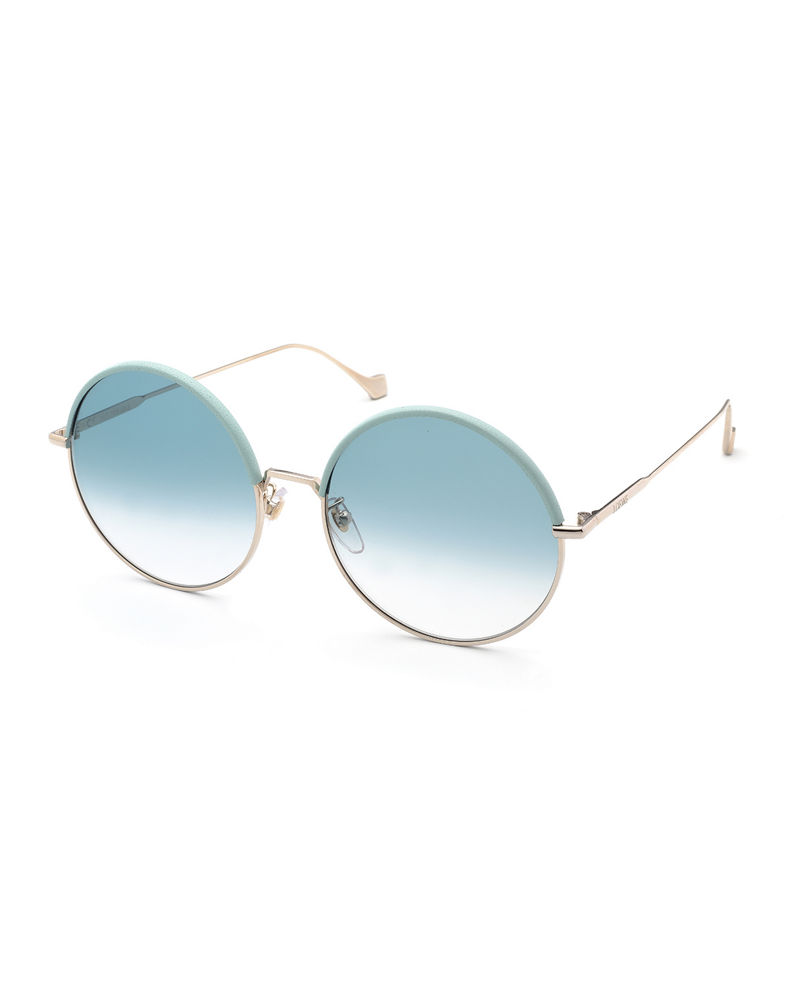 Leather Rimmed Round Sunglasses by Loewe