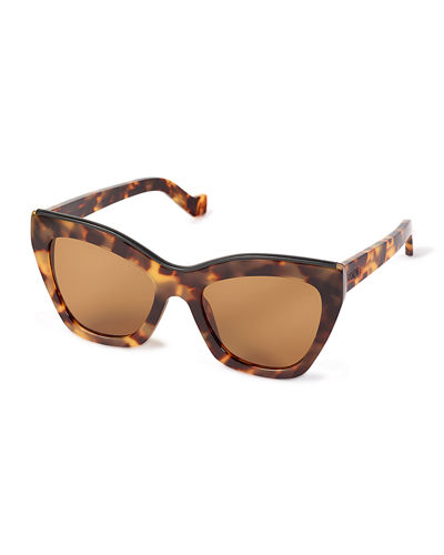 Semi-Transparent Acetate Cat-Eye Sunglasses w/ Leather Trim