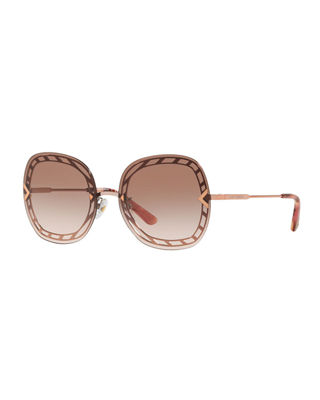58Mm Gradient Square Sunglasses - Rose Gold/ Brown Gradient in Rose Gold Frames/Brown Lenses from Sunglass Hut