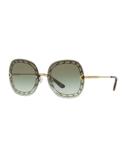 Rimless Lens-Over-Frame Square Sunglasses