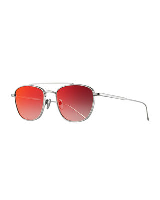 SUNDAY SOMEWHERE Romeo Titanium Aviator Sunglasses in Red/Silver