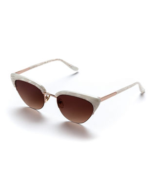 Pixie Acetate & Metal Cat-Eye Sunglasses in Mother Of Pearl