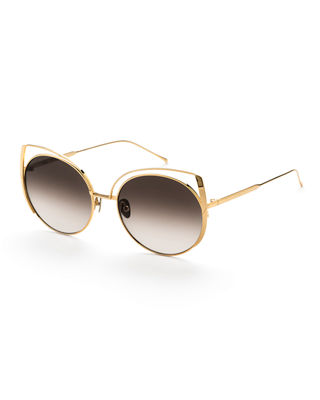 SUNDAY SOMEWHERE Daisy Cat-Eye Titanium Sunglasses in Gold