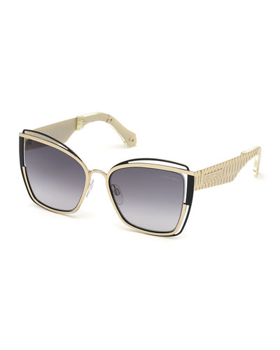 Cutout Cat-Eye Mirrored Sunglasses
