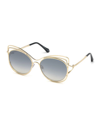 ROBERTO CAVALLI Crystal-Trim Mirrored Cat-Eye Sunglasses in Gray