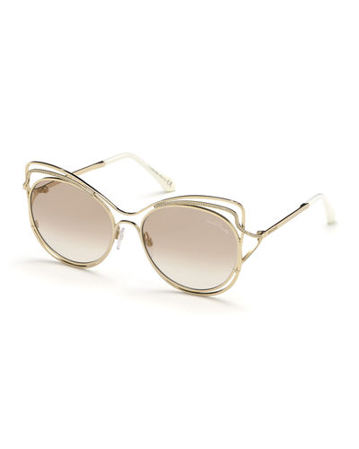Crystal-Trim Mirrored Cat-Eye Sunglasses