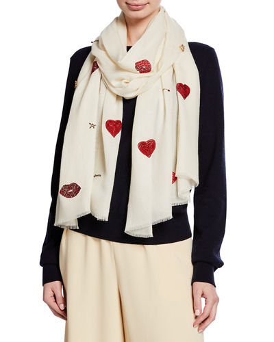 Hearts & Matchsticks Beaded Cashmere Scarf