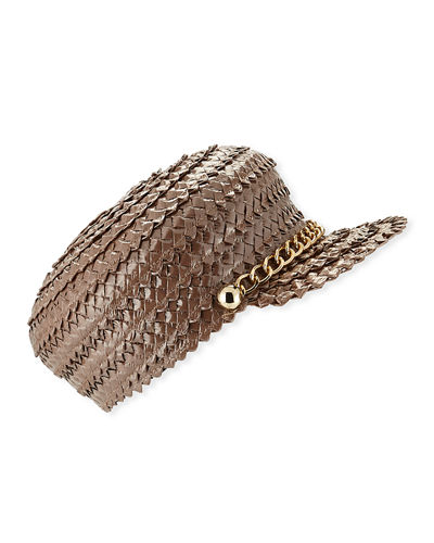 Eugenia Kim Sabrina Lacquered Braid Newsboy Hat