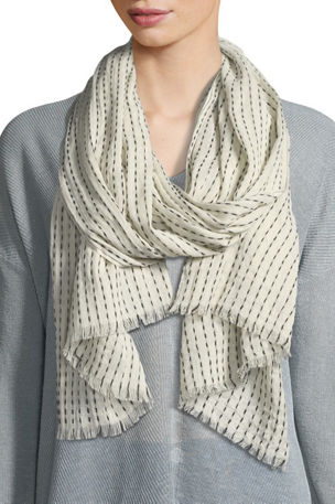 Eileen Fisher Dash Stripe Organic Cotton/Wool Scarf