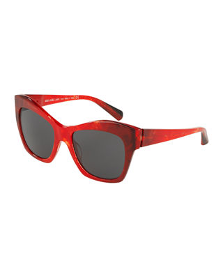 ALAIN MIKLI Nuages Marbleized Acetate Square Mirrored Sunglasses in Red