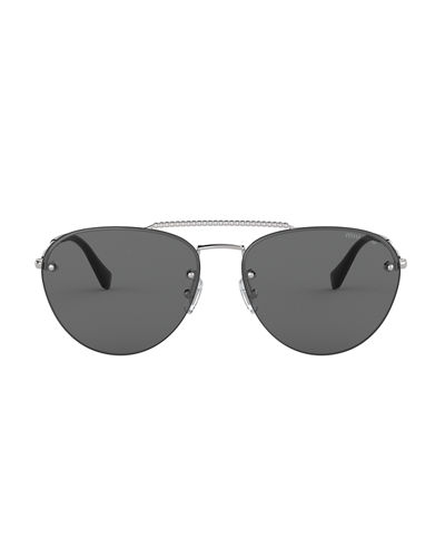 Miu Miu Rimless Mirrored Aviator Sunglasses