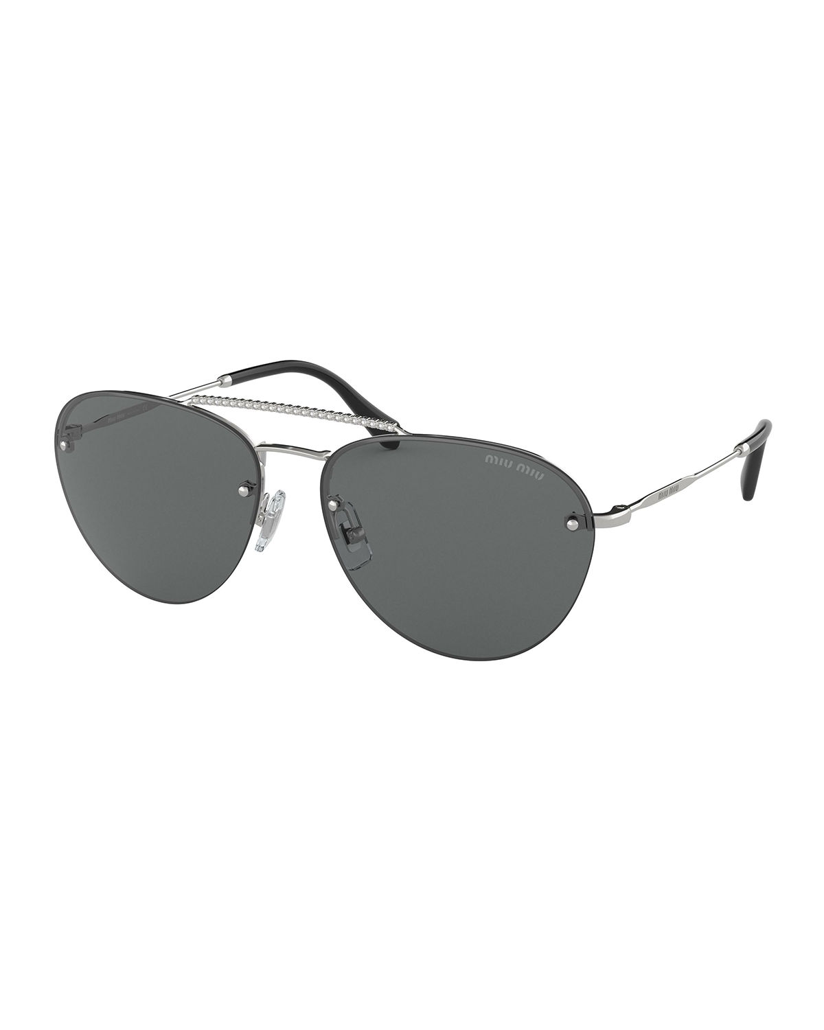 1ef33aeddcb Miu Miu Rimless Mirrored Aviator Sunglasses
