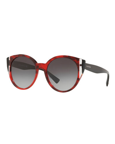 b601b9cc8c1 Quick Look. Valentino · Two-Tone Acetate Round Sunglasses