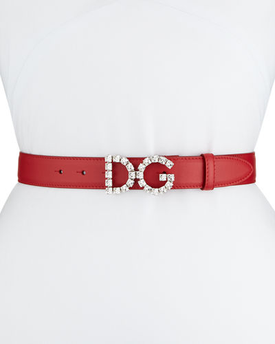 Leather Belt w/ Crystal Logo Buckle