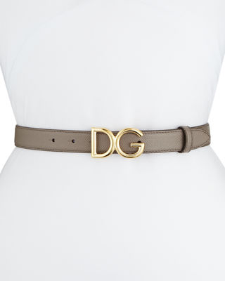 Leather Belt W/ Logo Buckle in Taupe