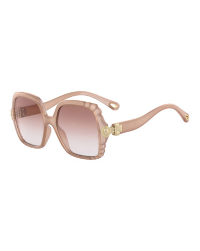 Vera Scalloped Square Plastic Sunglasses