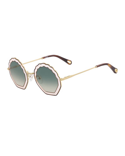 Tally Scalloped Round Gradient Sunglasses