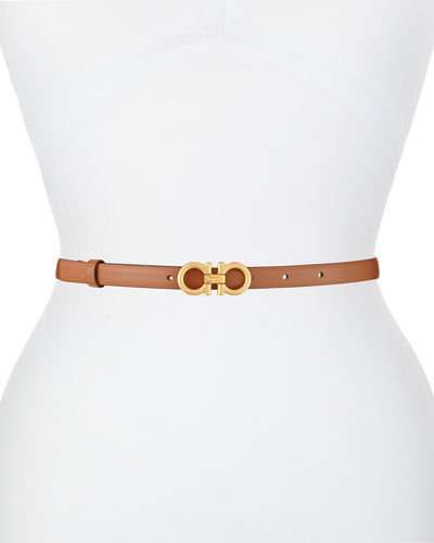 Skinny Leather Gancini Belt