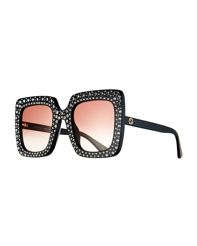 Gucci Oversized Square Transparent Sunglasses w/ Crystal Star Embellishments