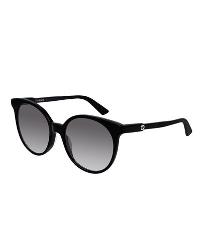 Gucci Round Gradient Sunglasses w/ Transparent Arms