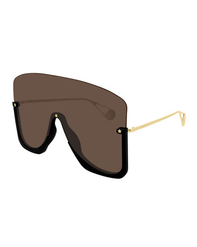 Semi-Rimless Oversized Mirrored Shield Sunglasses